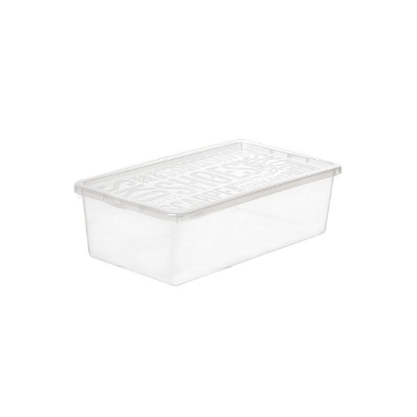 Basic Shoe Box small storage box made of translucent material to see the content of the shoe storage boxes from all angles. The box has a clicked-on lid.