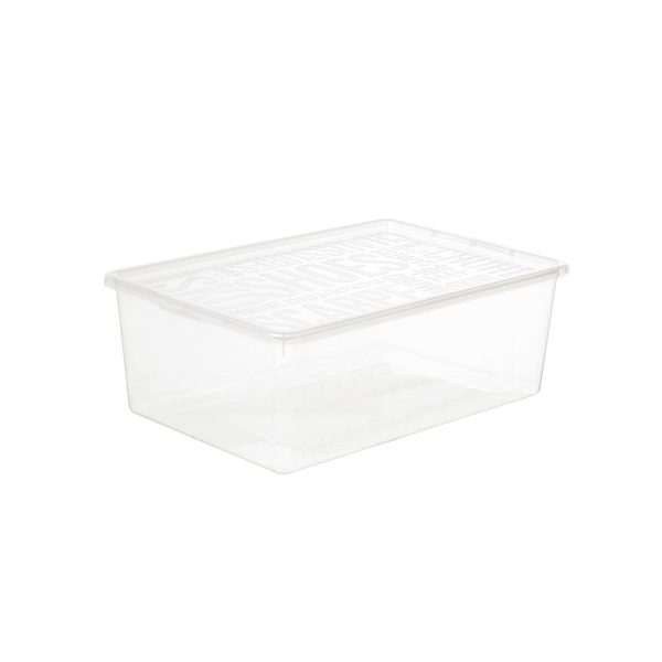 Basic Shoe Box large storage box made of translucent material to see the content of the shoe storage boxes from all angles. The box has a clicked-on lid.