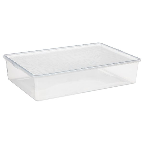 Basic Shoe Box, storage box for boots. It is made of translucent material to see the content of the shoe storage boxes from all angles. The box has a clicked-on lid.