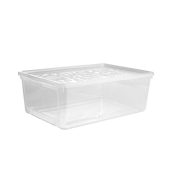 Basic Shoe Box large storage box with hatch to make access to the content of the box easier. It is made of translucent material to see the content of the shoe storage boxes from all angles. The box has a clicked-on lid.