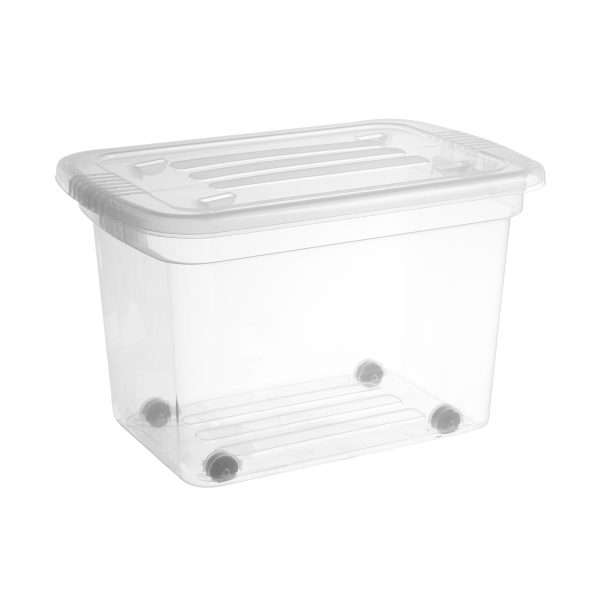 Home Box 52L storage box with wheels. The container is made of translucent material and has two firm closing clips in black color.