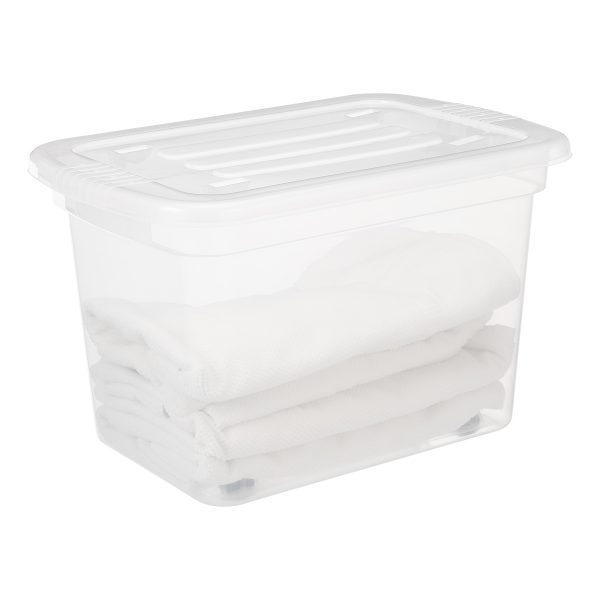 Home Box 52L storage box made of translucent material and has wheels. Towels are stored inside the box. The container is equiped with two firm closing clips.