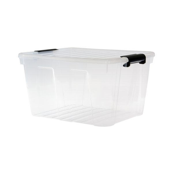 Home Box 30L storage box with a clear design, which makes it possible to identify the content of the boxes. The container has firm closing clips.