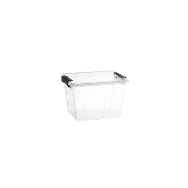 Home Box 3L storage box with a clear design, which makes it possible to identify the content of the boxes. The container has firm closing clips.