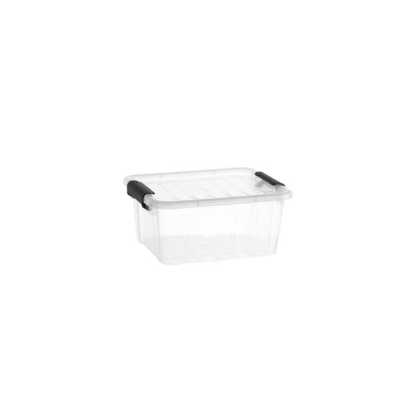 Home Box 2L storage box with a clear design, which makes it possible to identify the content of the boxes. The container has firm closing clips.