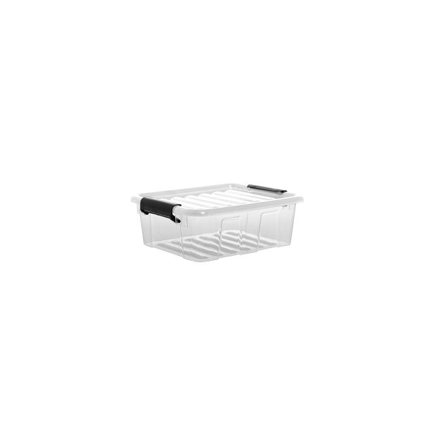 Home Box 1.5L storage box with a clear design, which makes it possible to identify the content of the boxes. The container has firm closing clips.