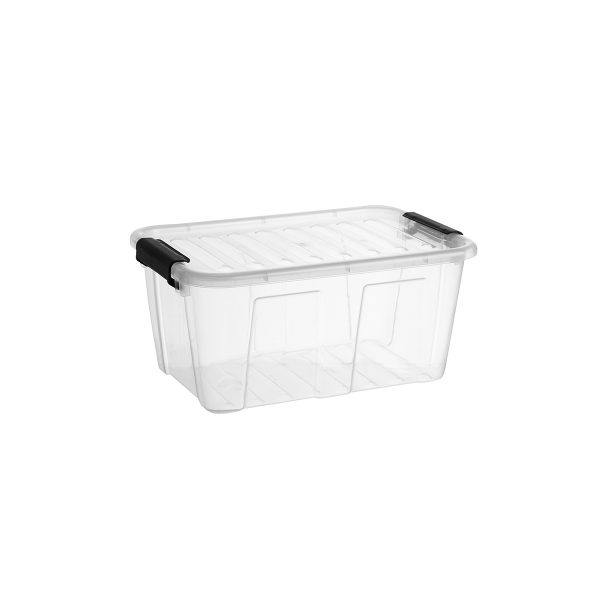 Home Box 8L storage box with a clear design, which makes it possible to identify the content of the boxes. The container has firm closing clips.