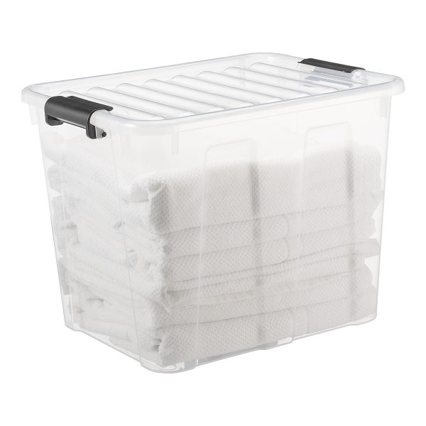Home Box 40L storage box with a clear design. Towels are stored inside the box. The container has firm closing clips.