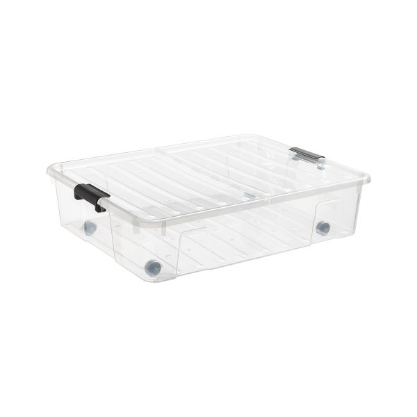Home Box Bedroller 49L underbed storage box with wheels. The container is made of translucent material and has two firm closing hinges.