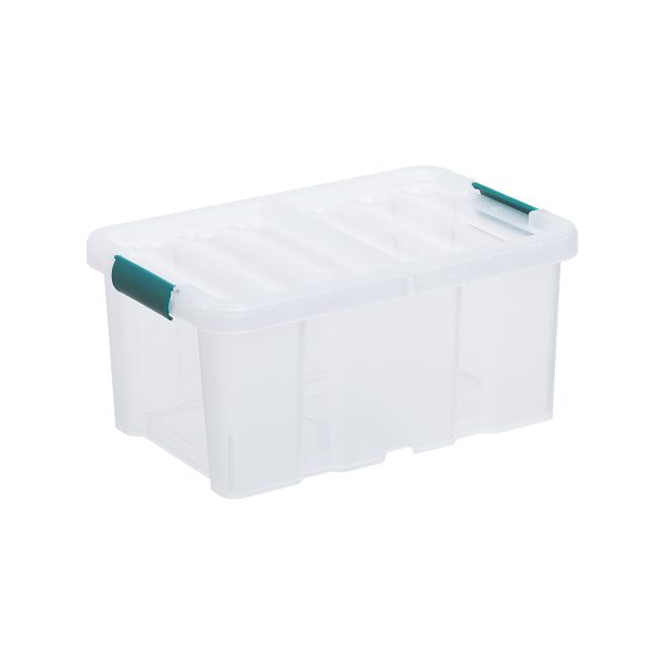 Sanshui 4.5L storage box has the double-sided flexible lid with clips in Shaded Spurce color. The roughed surface makes it more resistant to scratches and gives an overview what is inside without fully revealing it.