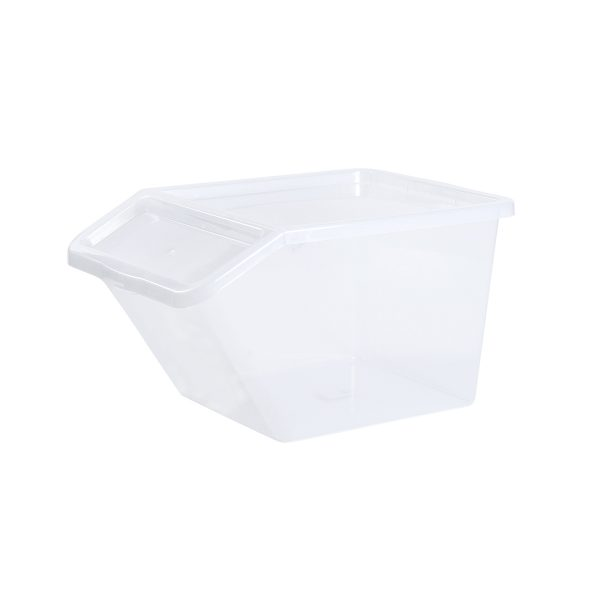 Basic Box Slanted 40L storage box made of translucent material which gives a perfect overview of what is inside. The slanted version is very convinient to open when boxes are stacked or in a wardrobe.