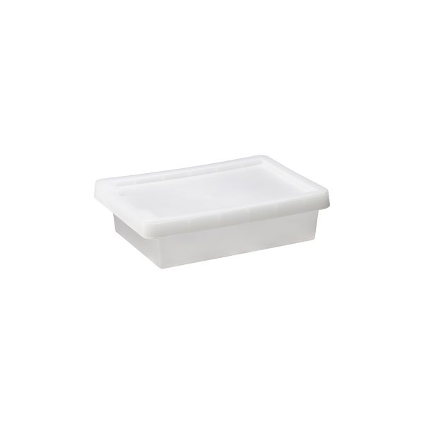 Tag Store 5L storage box with a clicked-on lid and semi-translucent surface that lets you sense but not see what is inside the box. The box come with writable tag to place on the front of the container.