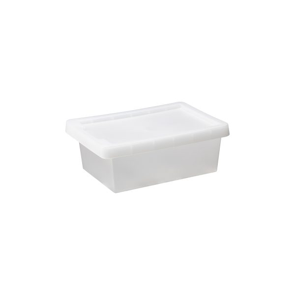Tag Store 8L storage box with a clicked-on lid and semi-translucent surface that lets you sense but not see what is inside the box. The box come with writable tag to place on the front of the container.
