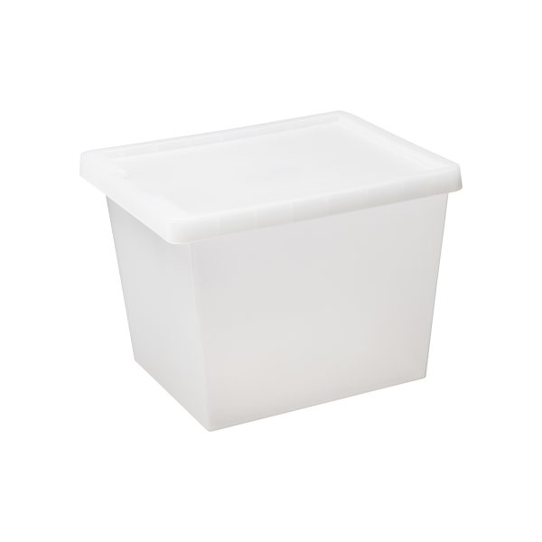 Tag Store 29L storage box with a clicked-on lid and semi-translucent surface that lets you sense but not see what is inside the box. The box come with writable tag to place on the front of the container.