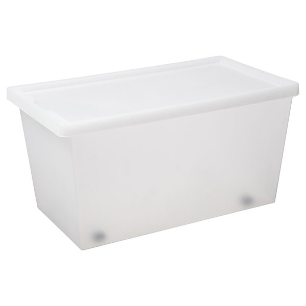 Tag Store 50L storage box with a clicked-on lid, wheels, and semi-translucent surface that lets you sense but not see what is inside the box. The box come with writable tag to place on the front of the container. Wheels help to transport the box when it is full and heavy.