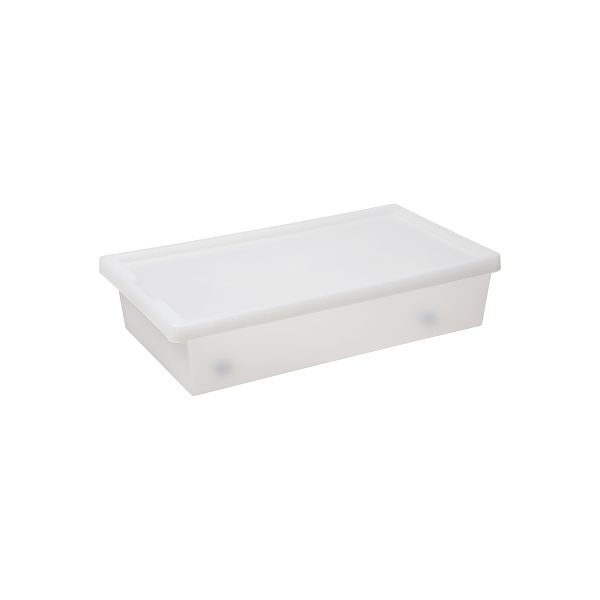 Tag Store Bedroller 50L storage box with a clicked-on lid, wheels, and semi-translucent surface that lets you sense but not see what is inside the box. The box come with writable tag to place on the front of the container. Also its low profile enables it to be placed under furniture.