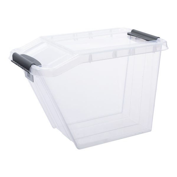 Probox Slanted 58L storage box made of translucent material. The box has a clear Scandinavian design. It is part of premium series of stackable storage solutions.
