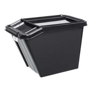 Probox Slanted 58L storage box made of black, post-consumer material. It is part of premium series of stackable storage solutions.