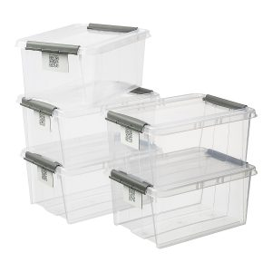 Value pack of five 14L Proboxes. Probox is series of premium storage boxes. They are stackable and made of translucent material. All boxes are equipped with QR codes compatible with the BoxPointer app.