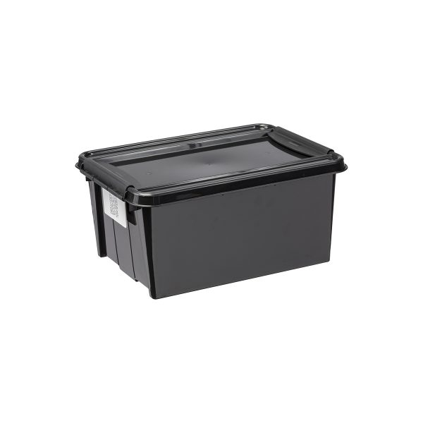 Probox 14L storage box made of black, post-consumer material. It is part of premium series of stackable storage solutions with a modern design.