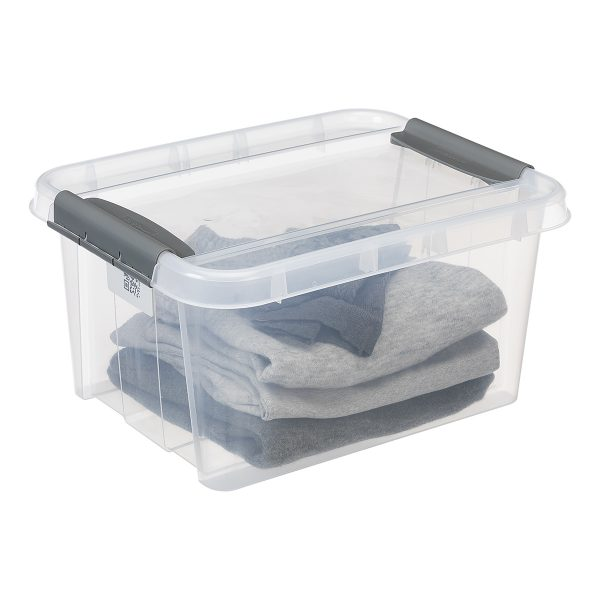 Probox 14L storage box made of translucent material. It is part of premium series of stackable storage solutions. The lid is closed with two strong clips.