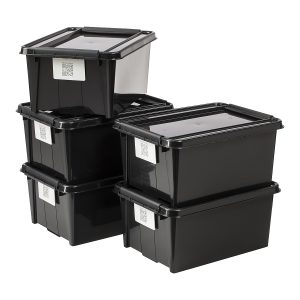Value pack of five 14L Proboxes. Probox is series of premium storage boxes. They are stackable and made of black, post-consumer material. All boxes are equipped with QR codes compatible with the BoxPointer app.
