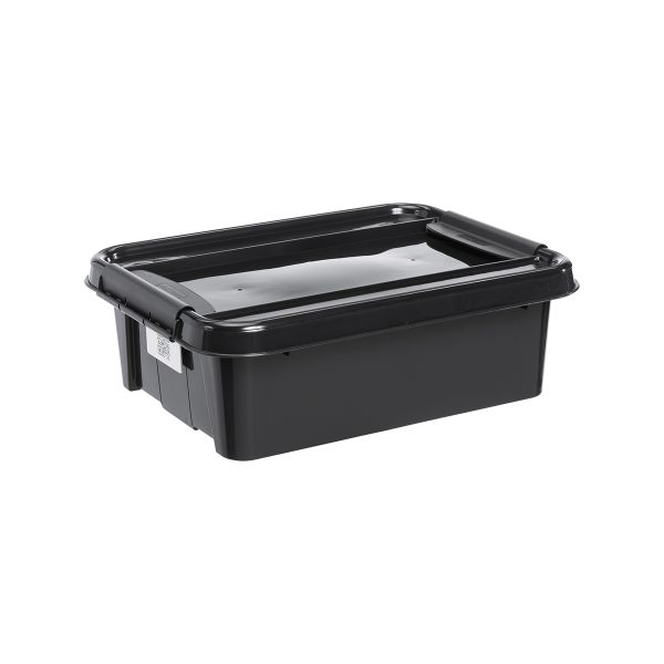 Probox 21L storage box made of black, post-consumer material. It is part of premium series of stackable storage solutions.
