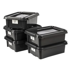 Value pack of five 21L Proboxes. Probox is series of premium storage boxes. They are stackable and made of black, post-consumer material. All boxes are equipped with QR codes compatible with the BoxPointer app.