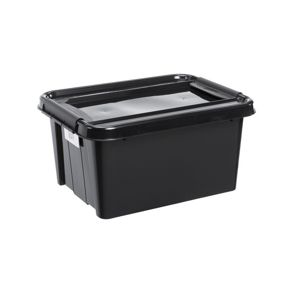 Probox 32L storage box made of black, post-consumer material material. It is part of premium series of stackable storage solutions.