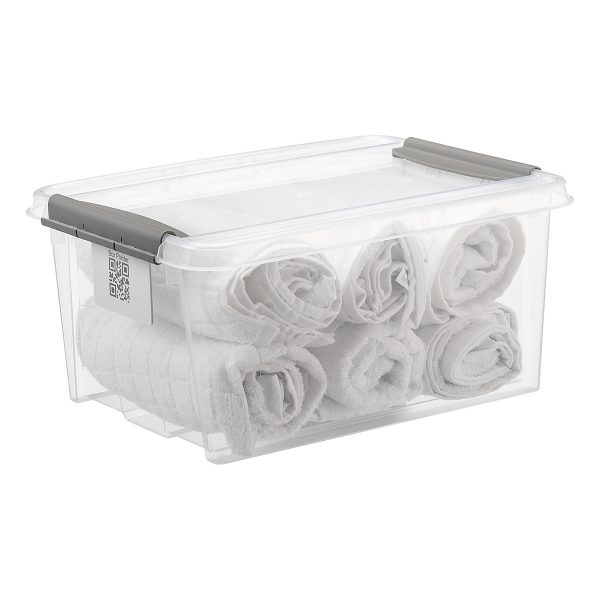 Probox 32L storage box made of translucent material. It is part of premium series of stackable storage solutions with a modern design. Box has towels inside.