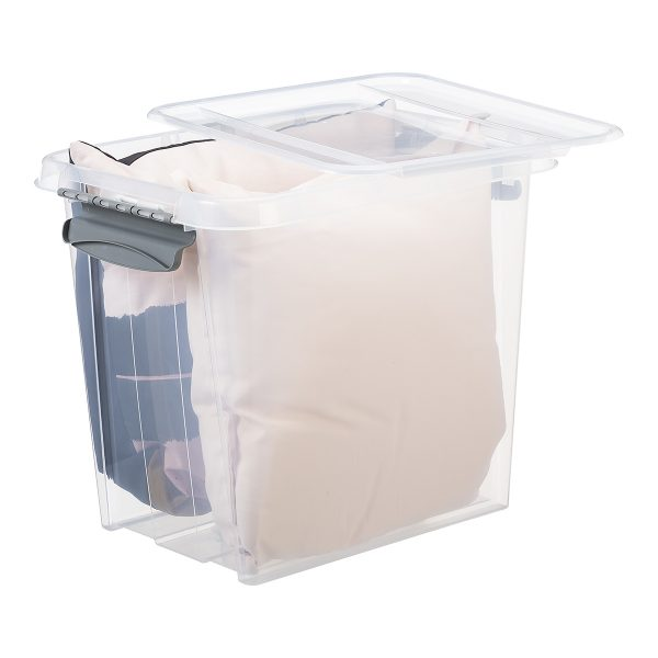 Probox 53L storage box made of translucent material. It is part of premium series of stackable storage solutions with a modern design. Box has bedding inside.