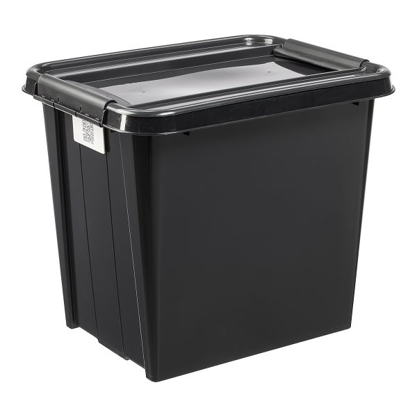 Probox Recycle 53L storage box made of black, post-consumer material material. It is part of premium series of stackable storage solutions.
