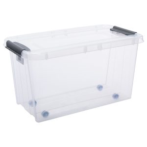 Probox 70L storage box made of translucent material. It is part of premium series of stackable storage solutions. Container has wheels for easy transport.