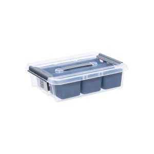 Probox DIY 8L set of storage box made of translucent material and inserts ideal to store small hobby items. It is part of premium series of stackable storage solutions. The lid is closed with two strong clips.
