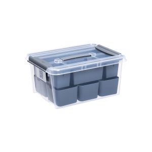 Probox DIY 14L set of storage box made of translucent material and inserts ideal to store small hobby items. It is part of premium series of stackable storage solutions. The lid is closed with two strong clips.