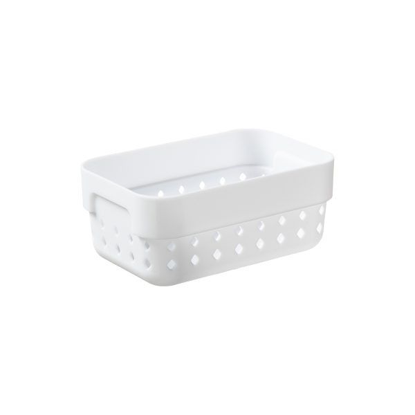 A small storage organizer is made of white plastic with a modern, elegant design.