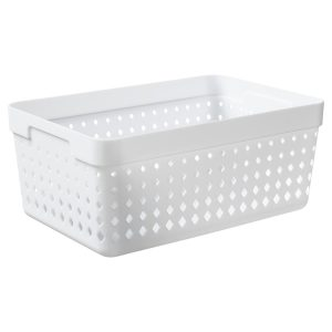 An extra large storage organizer is made of white plastic with a modern, elegant design.