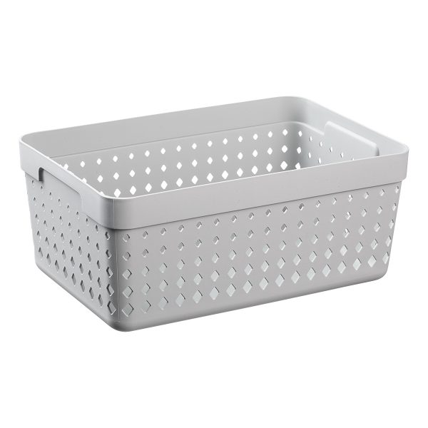 An extra large storage organizer is made of grey recycled plastic with a modern, elegant design.