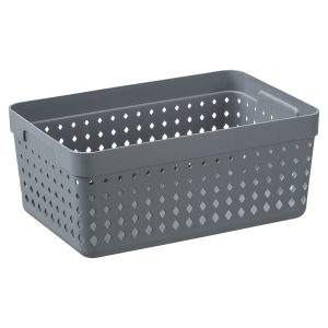 An extra large storage organizer is made of plastic in a Tradewinds color with a modern, elegant design.