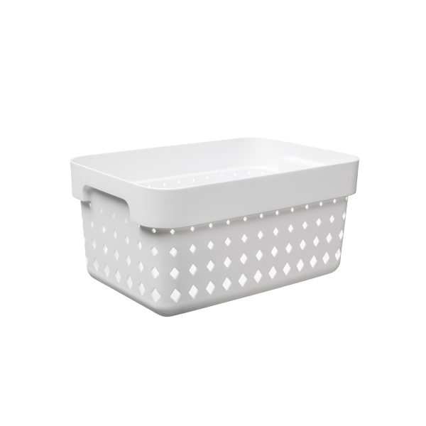 A small storage basket is made of white plastic with a modern, elegant design.
