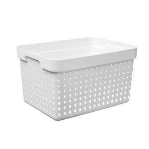 A large storage basket is made of white plastic with a modern, elegant design.
