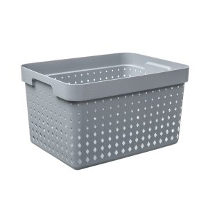 A large storage basket is made of plastic in a Tradewinds color with a modern, elegant design.