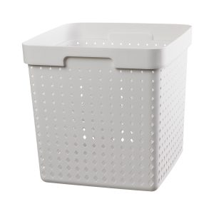 An extra large storage basket is made of white plastic with a modern, elegant design.
