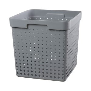 An extra large storage basket is made of plastic in a Tradewinds color with a modern, elegant design.