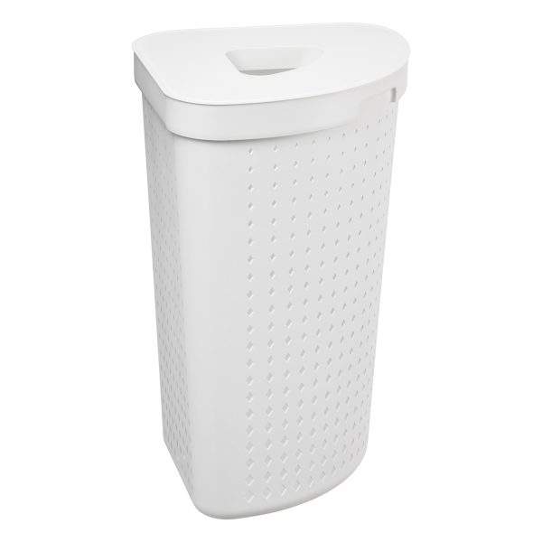 A corner laundry basket has 62L and it is made of white plastic with a modern, elegant design. Photo is taken from the side.