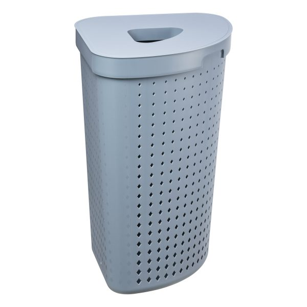 A corner laundry basket has 62L and it is made of plastic in a Faded Denim color, with a modern, elegant design. Photo is taken from the side.