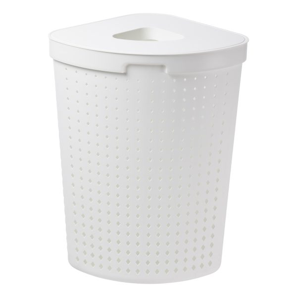 A corner laundry basket has 62L and it is made of white plastic with a modern, elegant design. Photo is taken from the front.