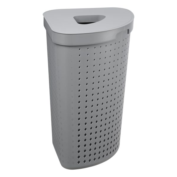 A corner laundry basket has 62L and it is made of plastic in a Tradewinds color, with a modern, elegant design. Photo is taken from the side.