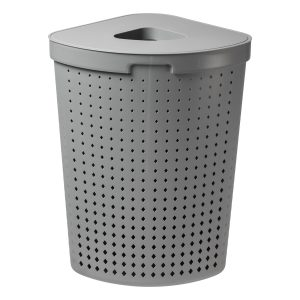A corner laundry basket has 62L and it is made of plastic in Tradewinds color, with a modern, elegant design. Photo is taken from the front.