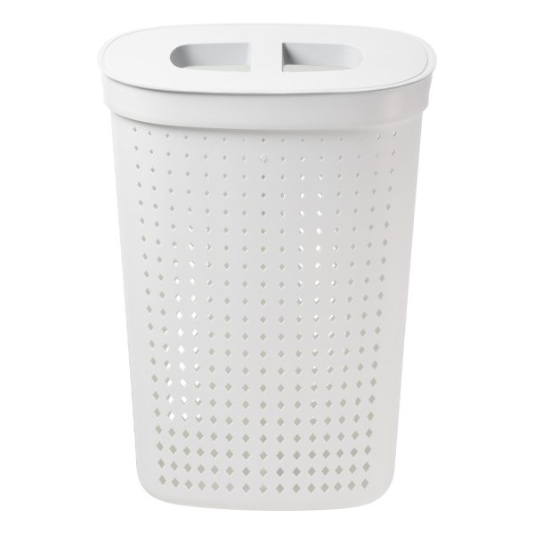 A laundry basket in an oval shape has 60,8L and it is made of white plastic with a modern, elegant design. Photo is taken from the front.
